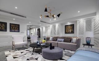 220平现代美式家客厅吊顶设计