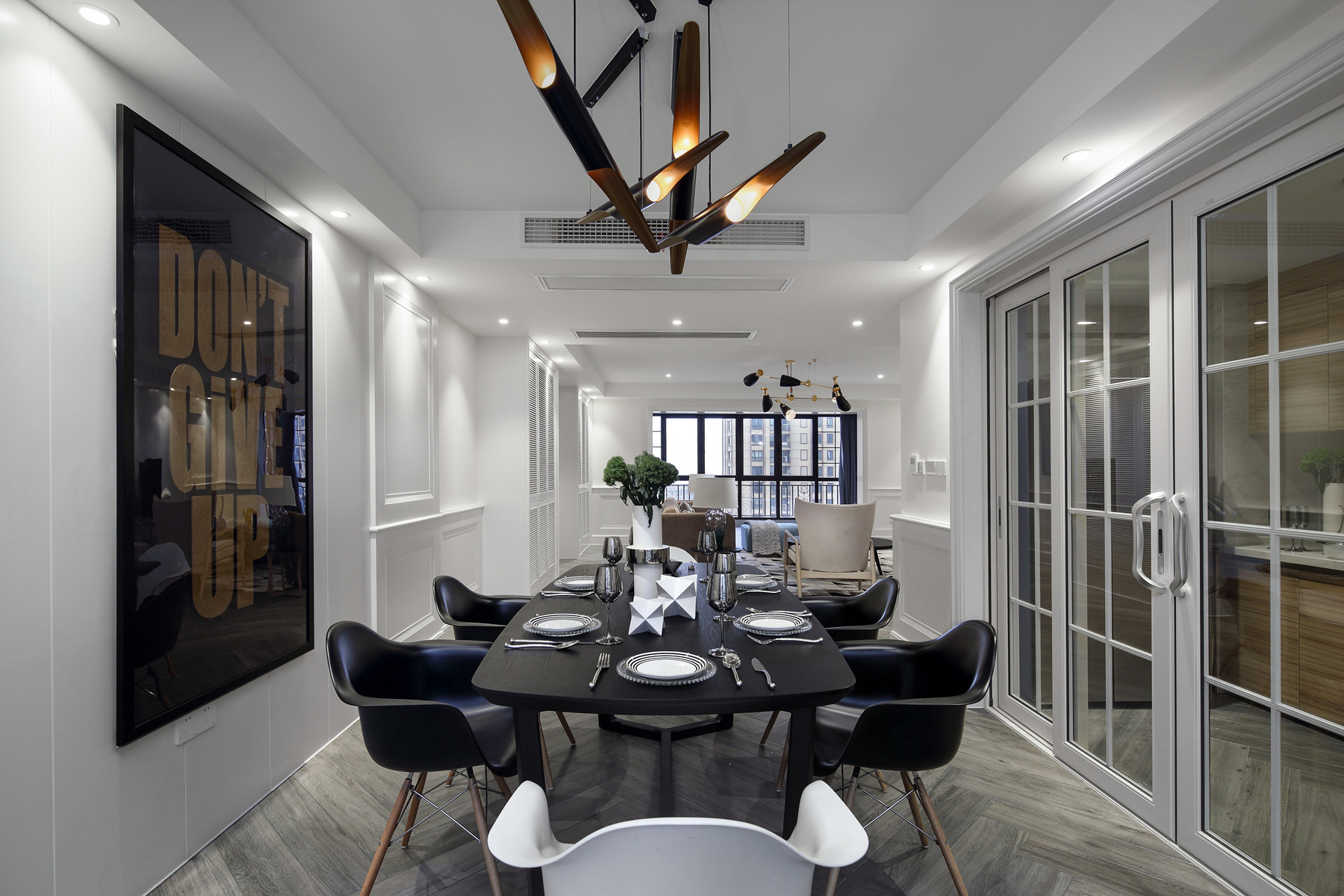 220平现代美式家餐桌图片