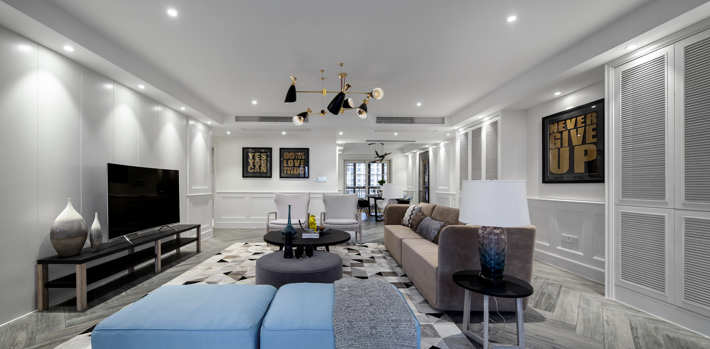 220平现代美式家客厅效果图