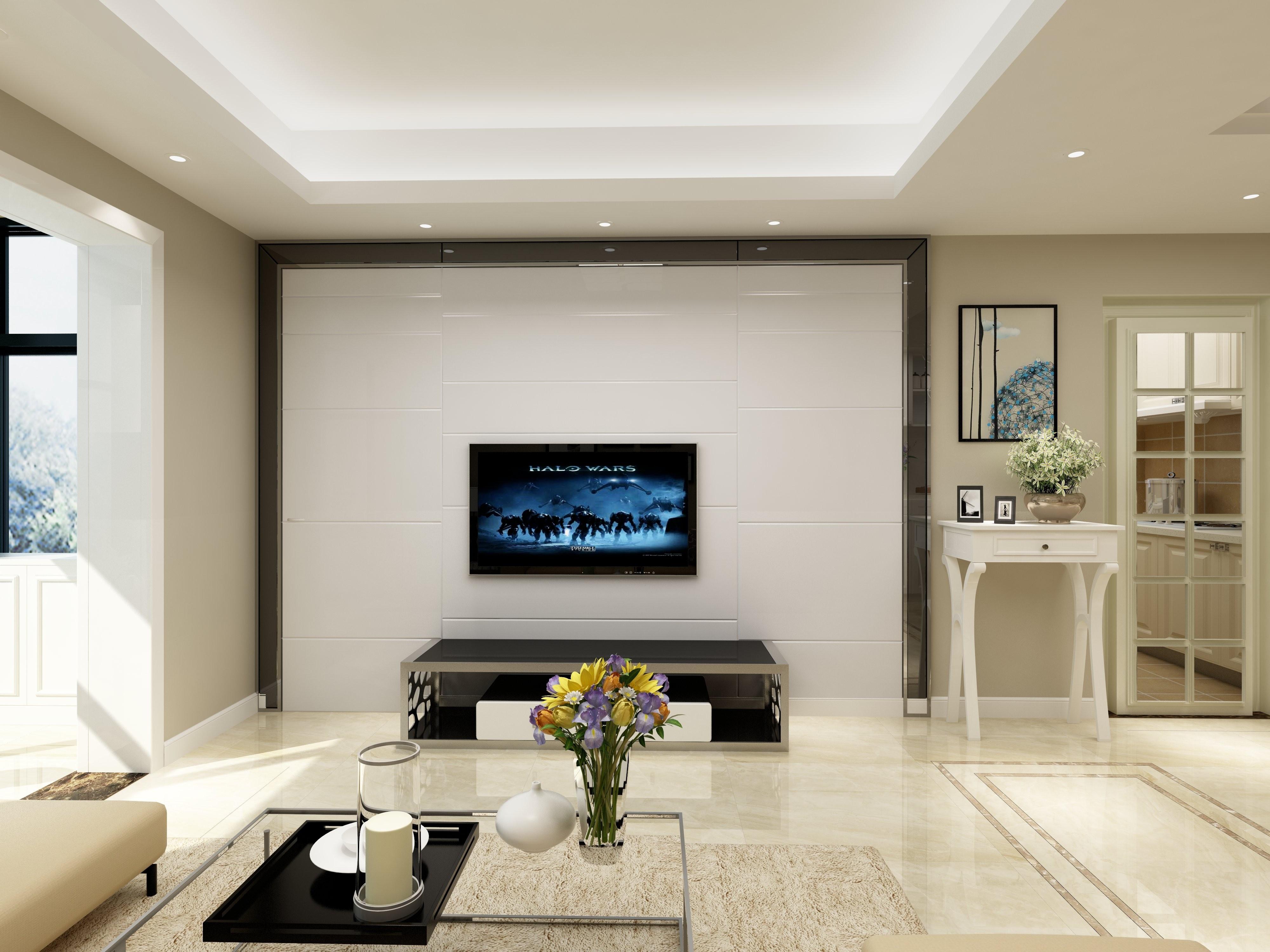 90平简约三居装修电视背景墙图片