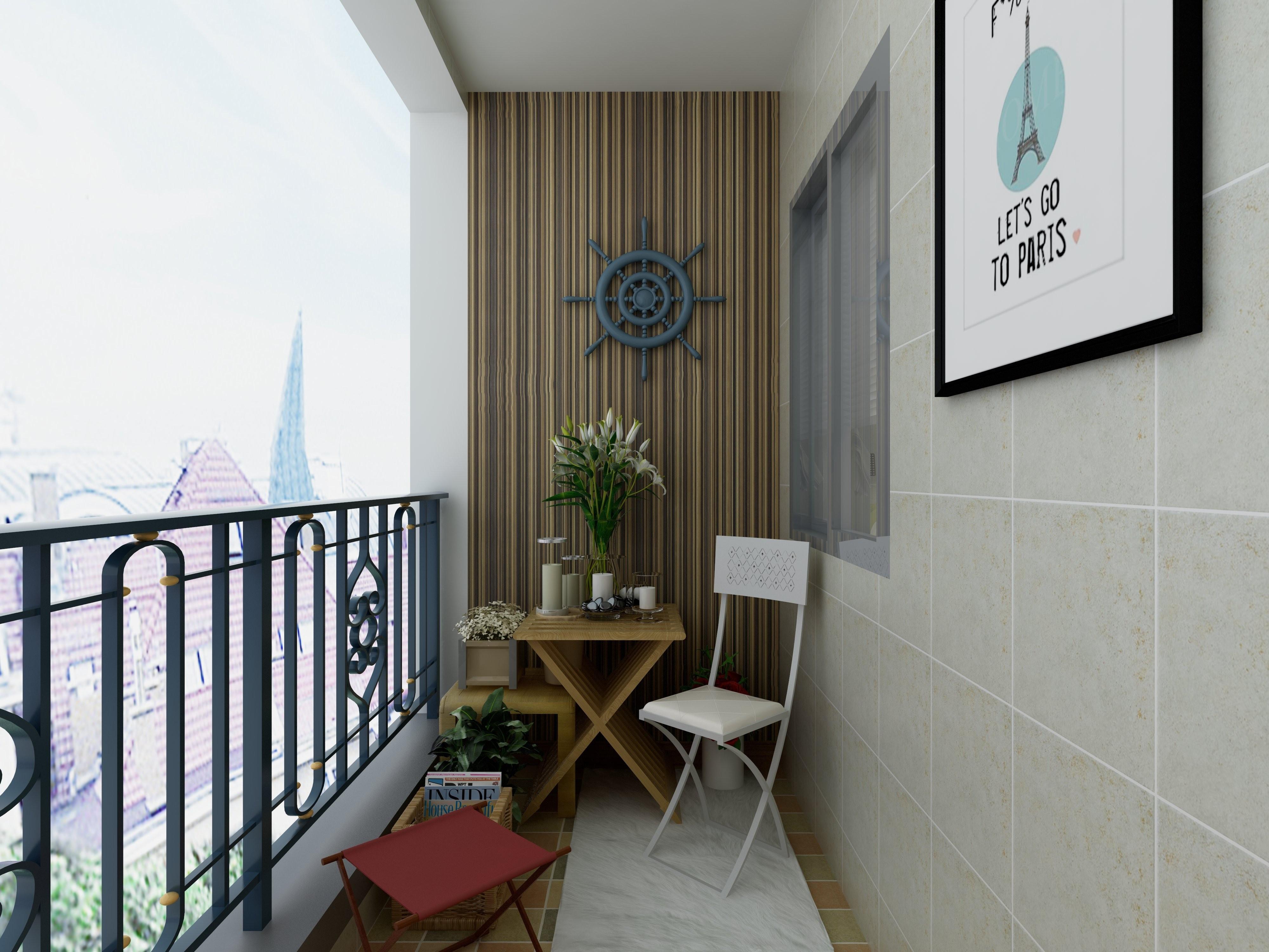 100㎡三居装修阳台效果图