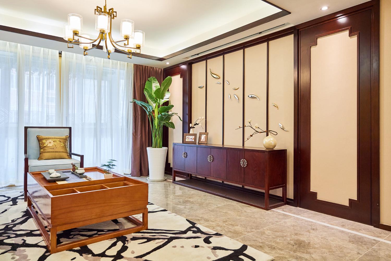 中式三居装修电视柜图片