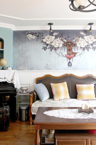美式风格二居装修沙发背景墙图片