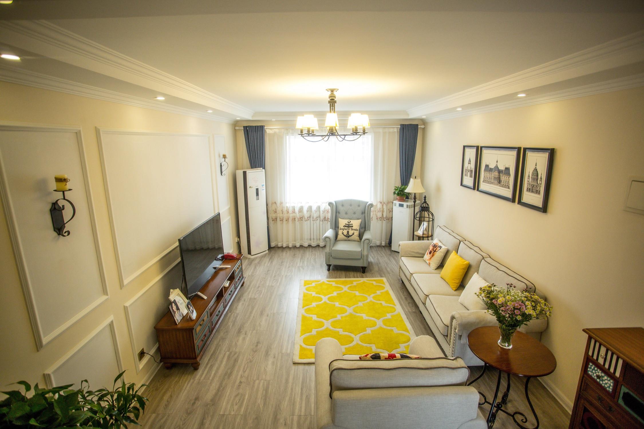 100平美式二居装修客厅全景图