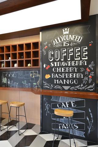 80平小清新咖啡厅装修吧台区