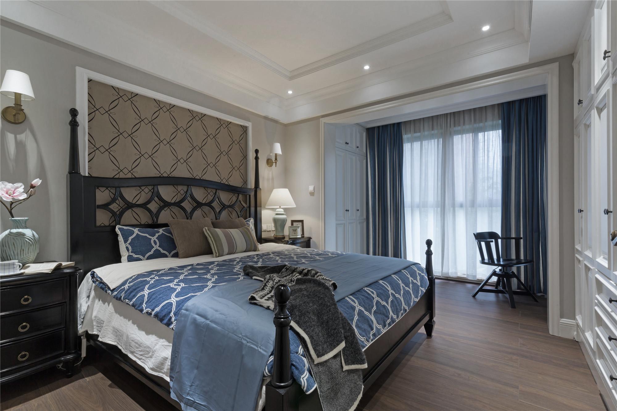 90平美式二居装修卧室设计图