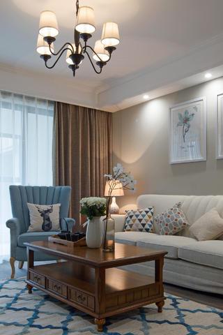 130平现代美式家客厅一角