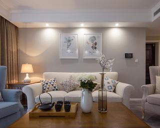 130平现代美式家沙发背景墙图片