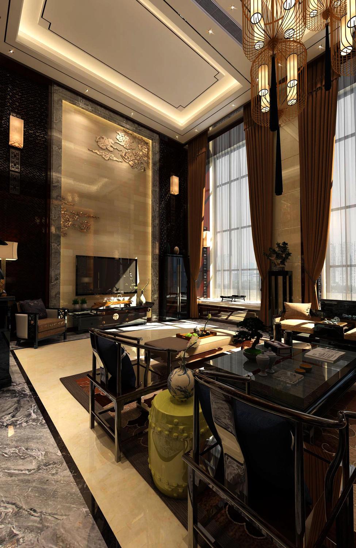 设计师XIN: 本作品为460平米三层中式别墅,业主是一位酷爱中国文化的人,他觉得只有中式风格的住宅才能和他的一身唐装呼应,整体色彩使用中式的古木色,为了保证采光,地面选用亮色大理石地砖,所有的摆件均采用实木家具,宁静的感觉贯彻其中,是我最喜欢的一个作品,没有之一,个人觉得再多华丽的辞藻也难以形容他的唯美,各位看官请看图说话吧。