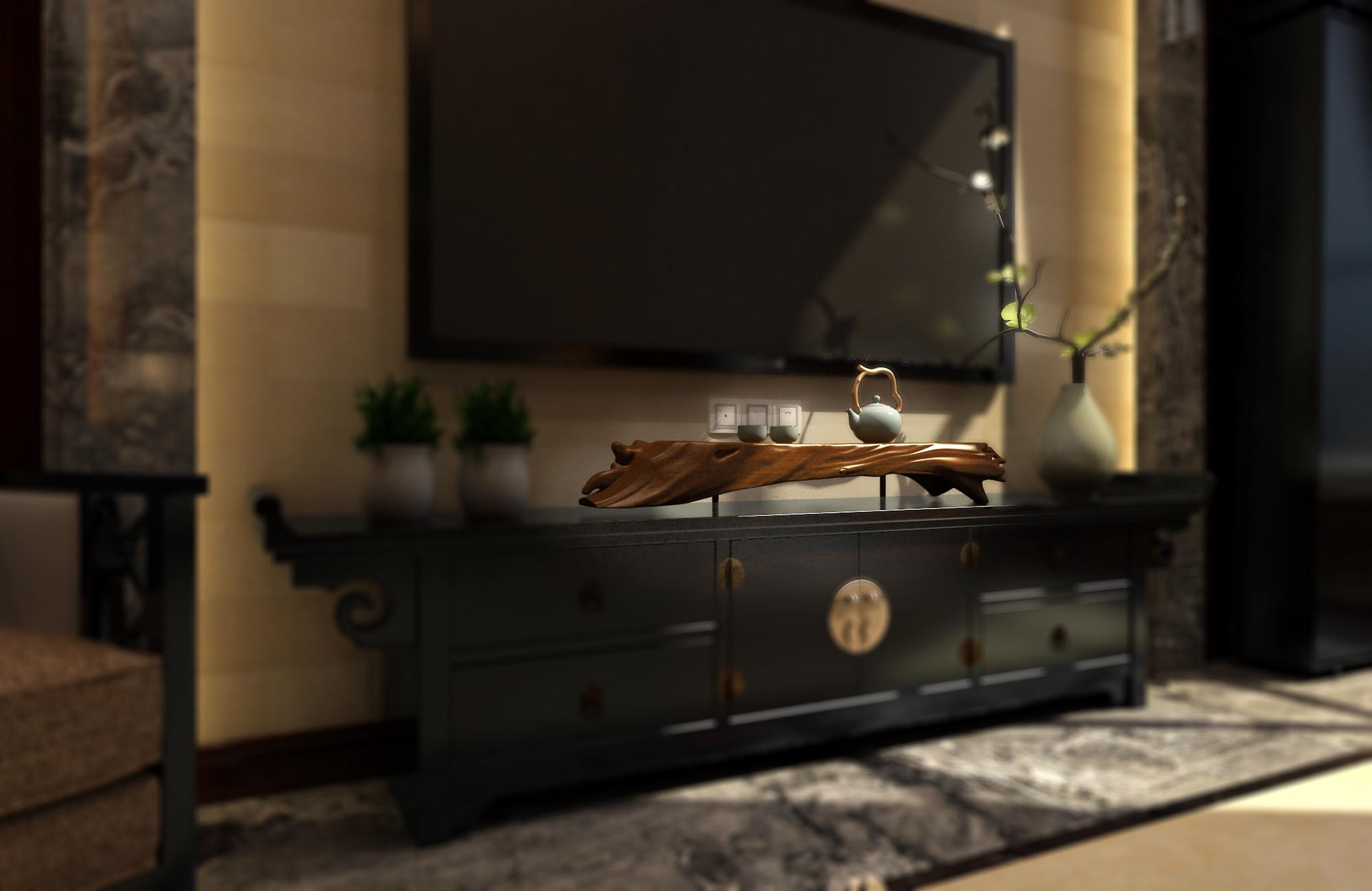 中式别墅装修电视柜图片