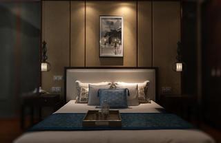 中式别墅装修床头背景墙设计