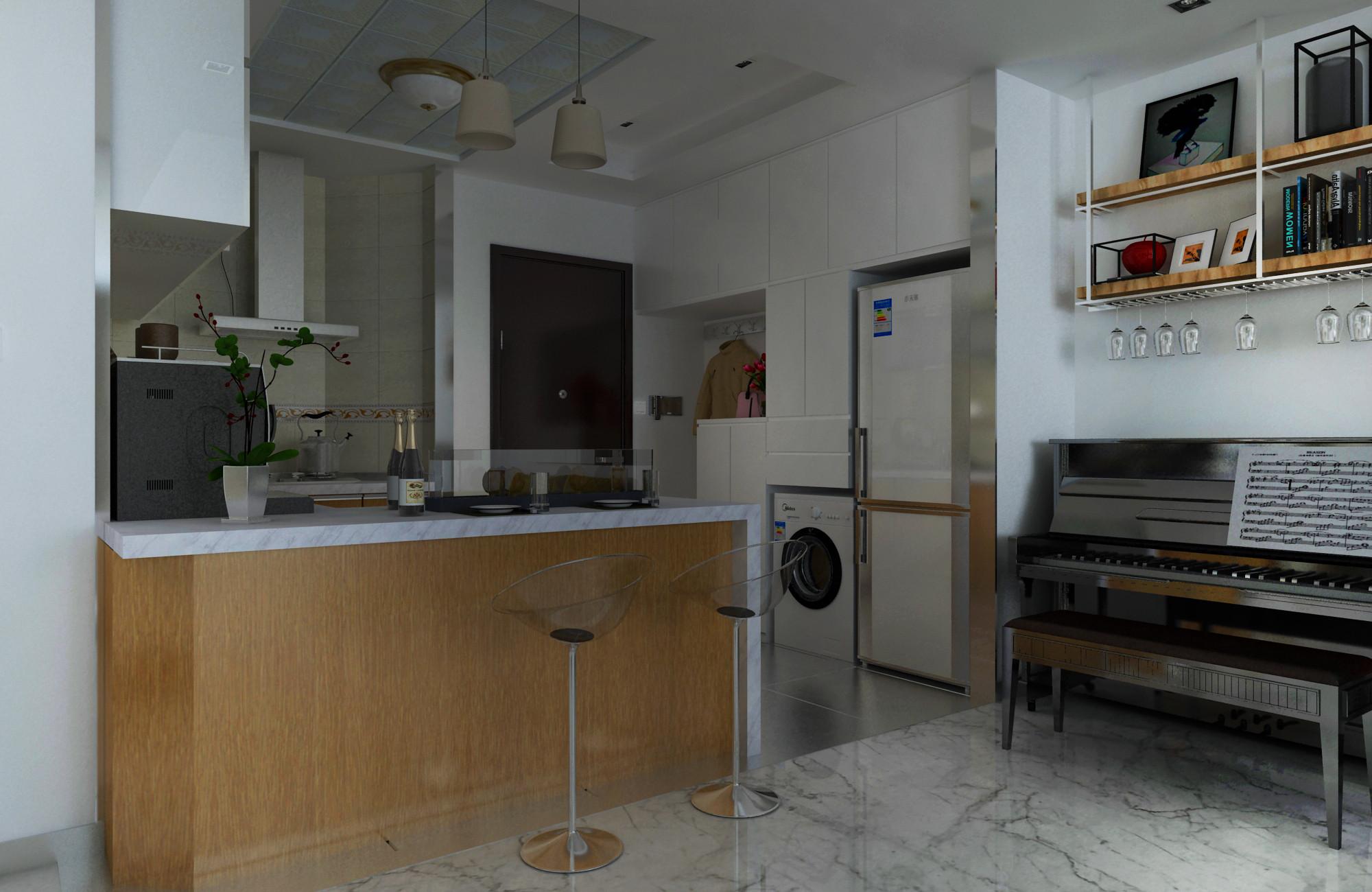 83平简约装修厨房吧台设计