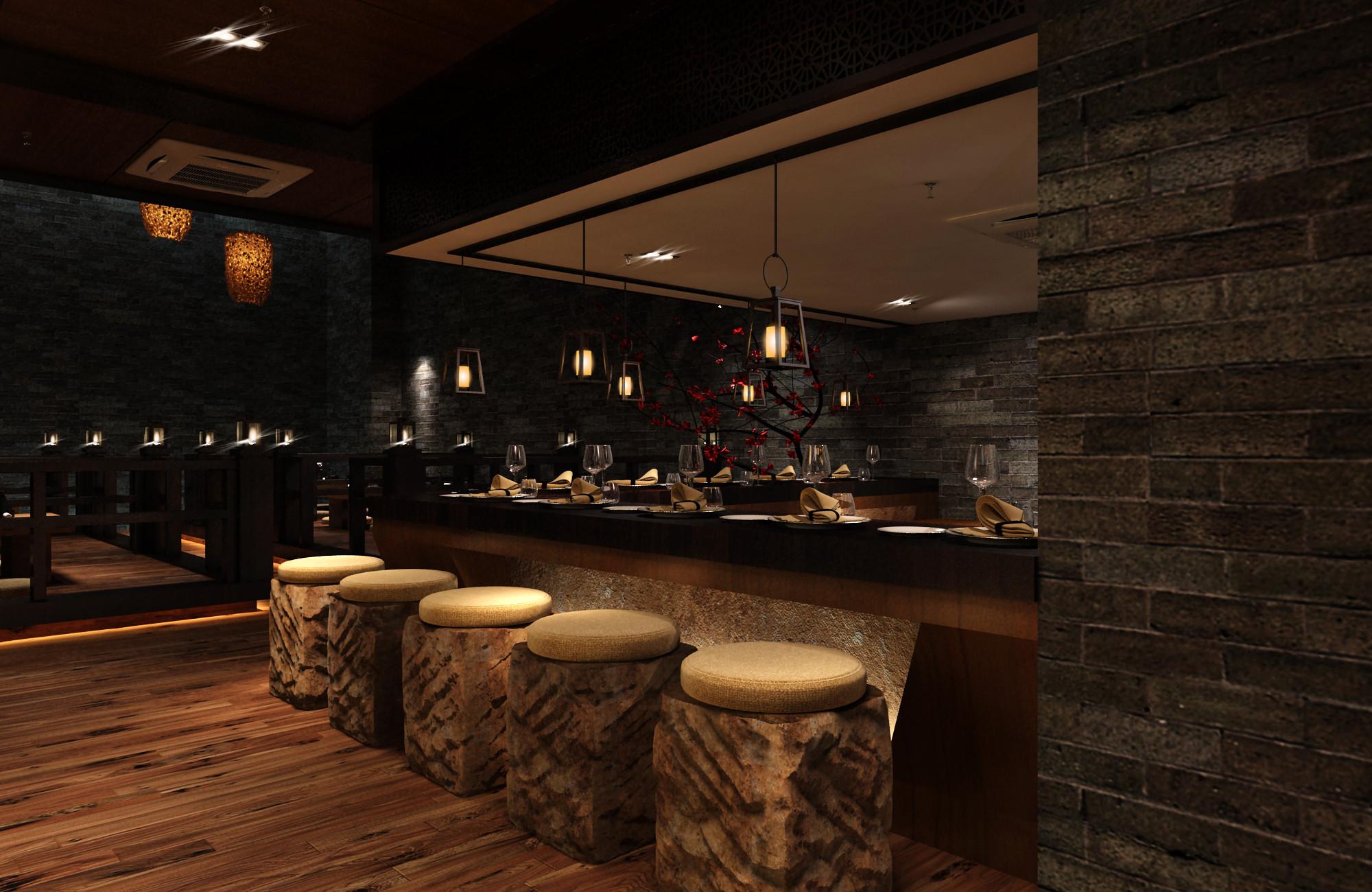 日式风格餐厅装修吧台设计