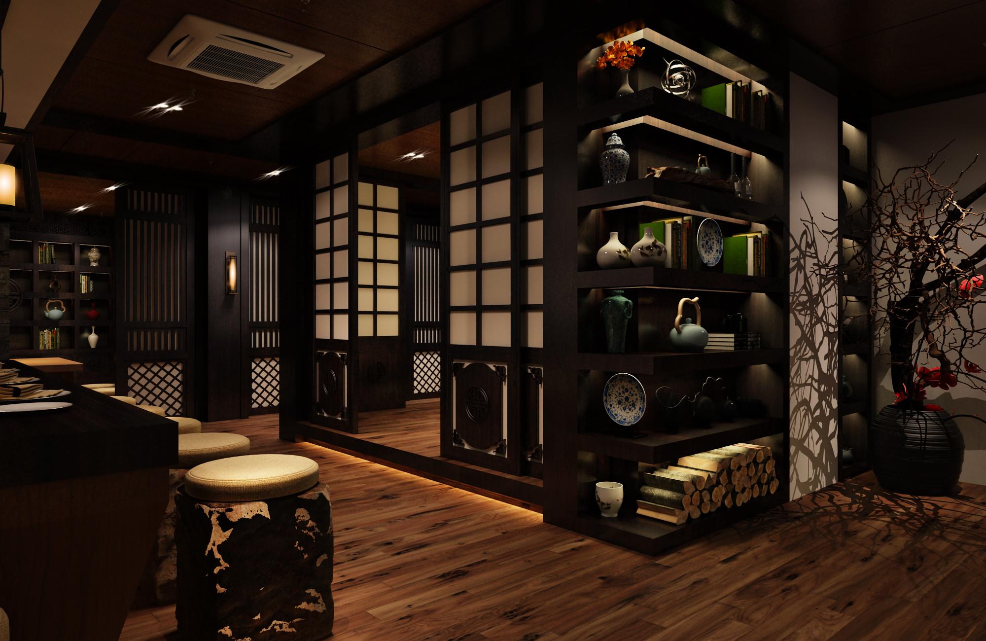 日式风格餐厅装修展示柜图片
