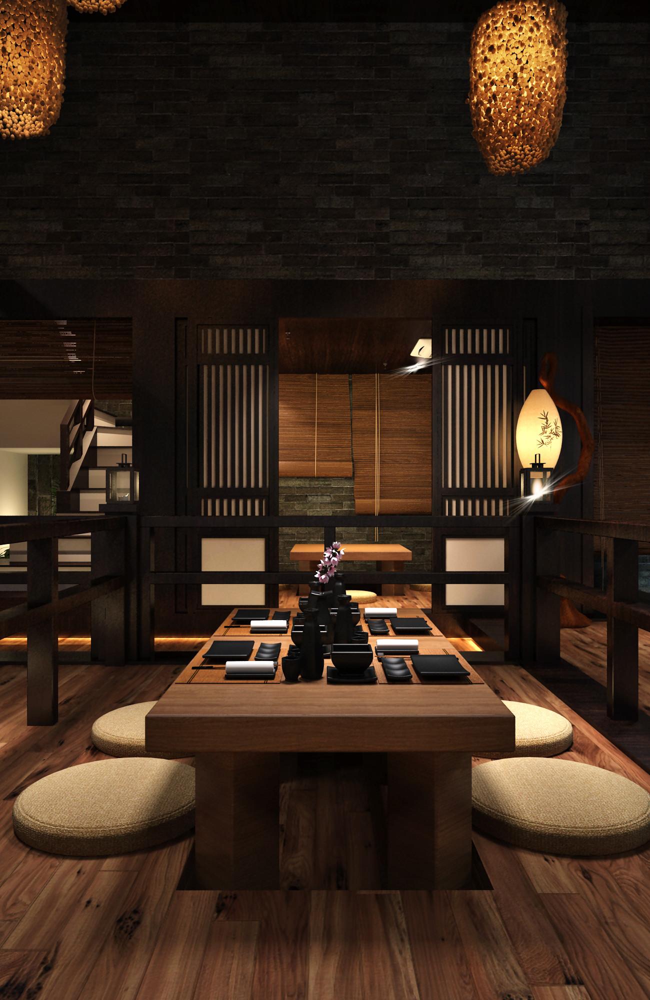 日式风格餐厅装修包间设计