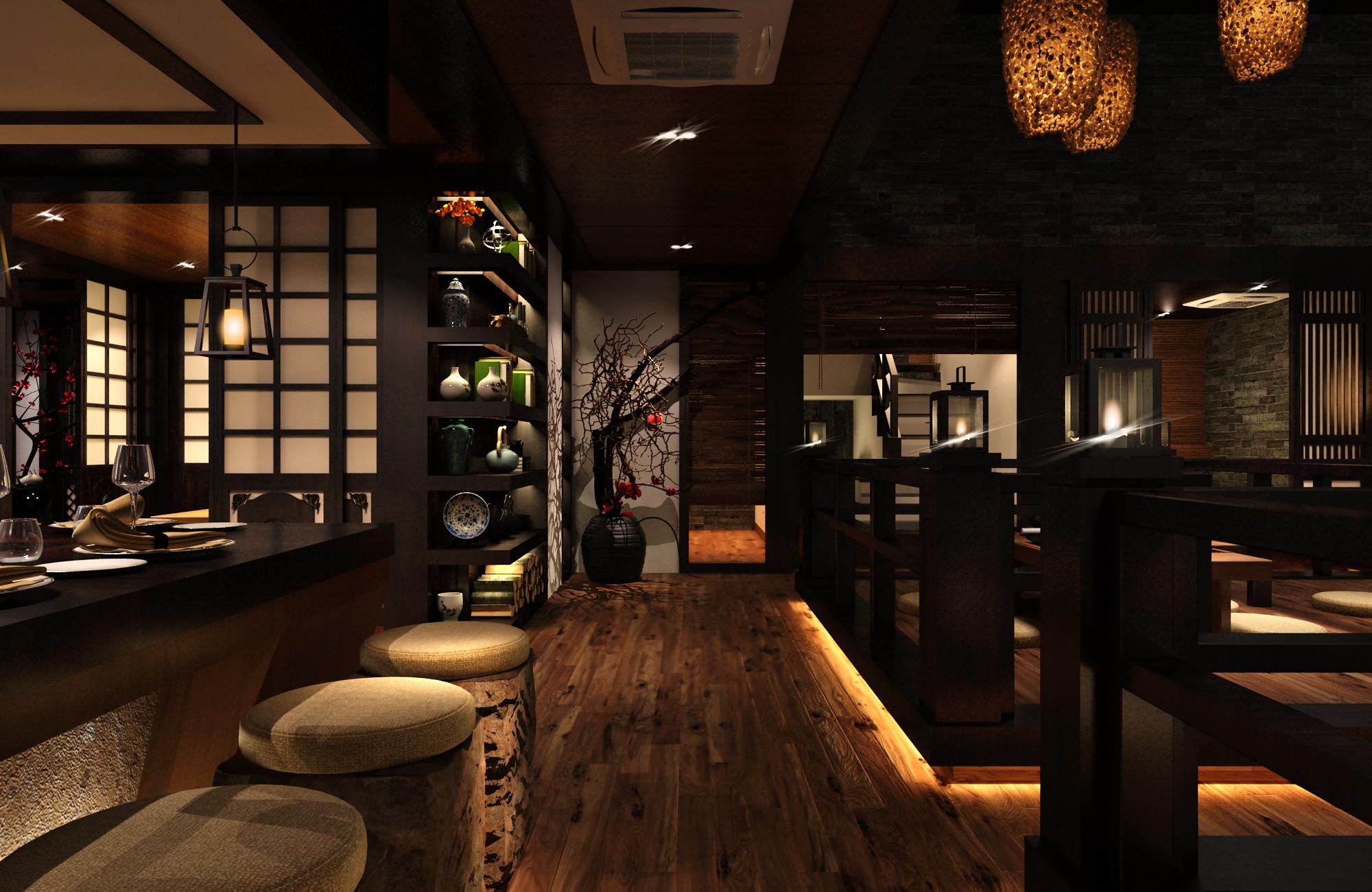 日式风格餐厅装修吧台凳图片