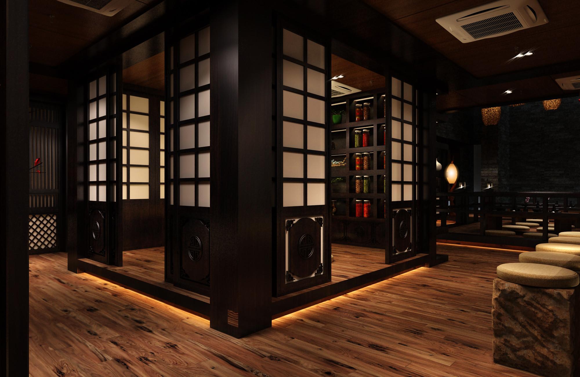 日式风格餐厅装修包间移门设计