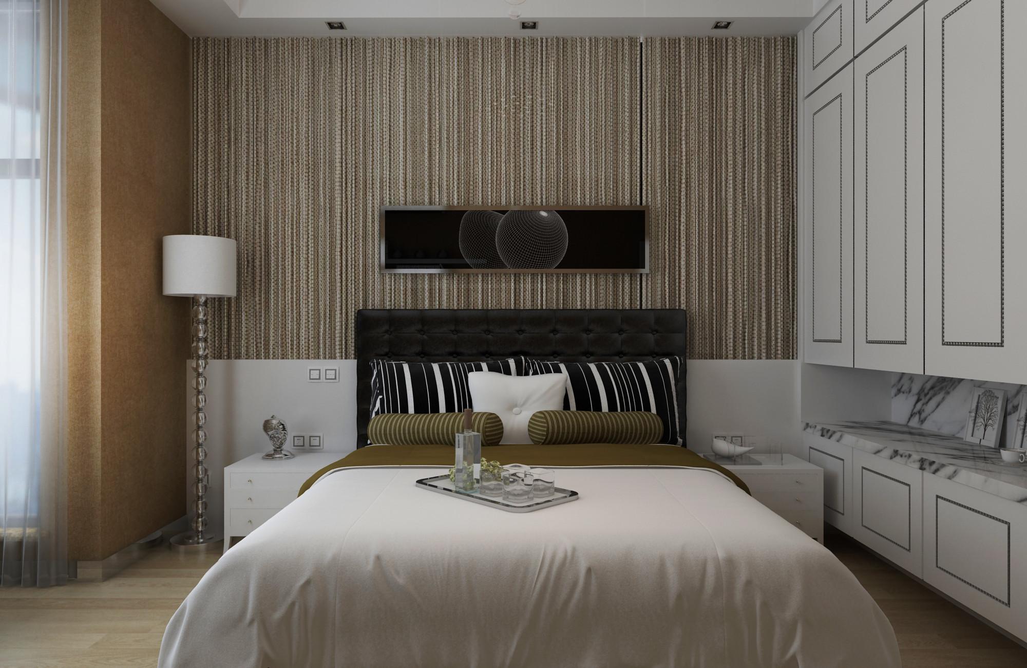 现代简约装修床头背景墙图片