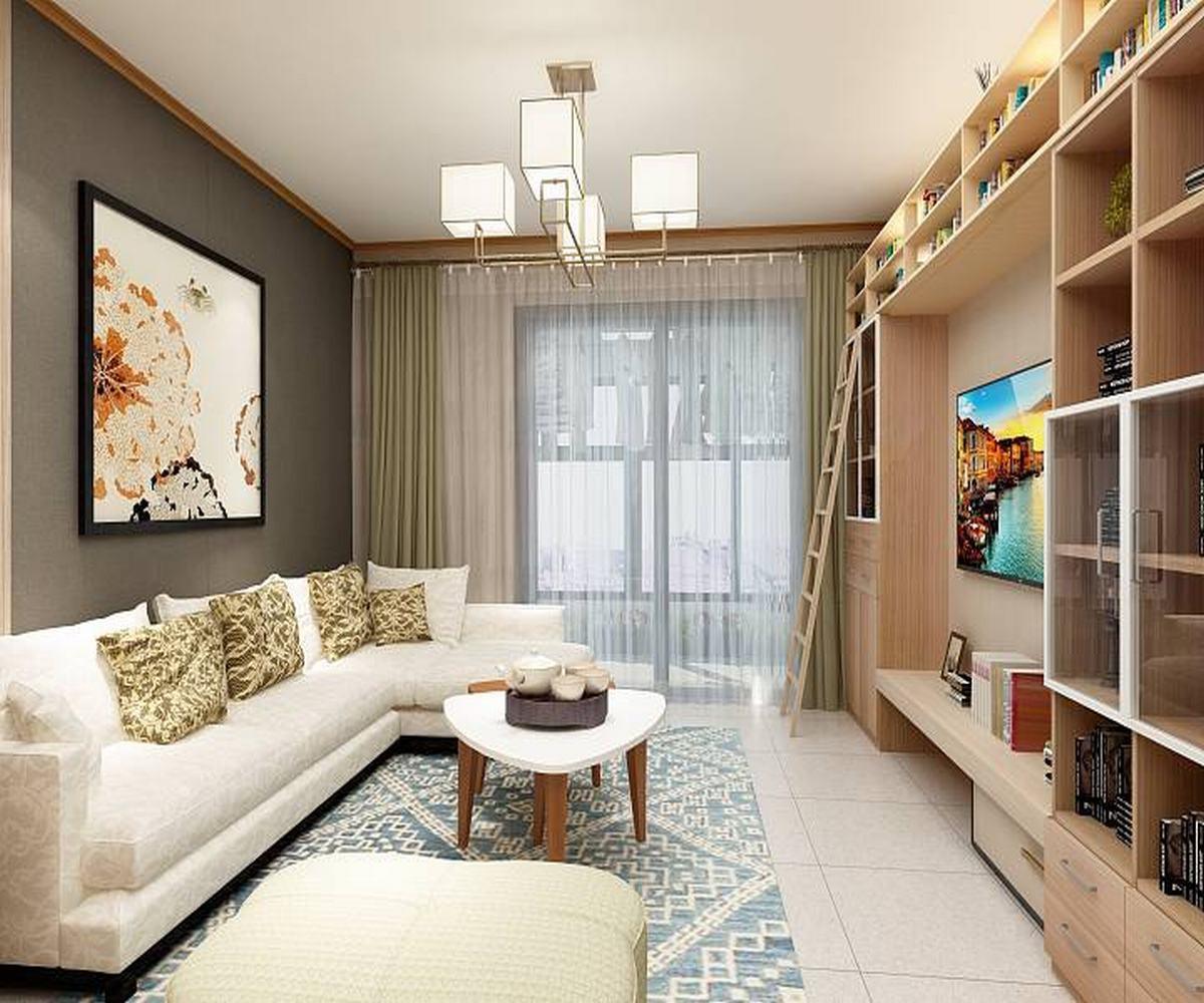 100㎡三居室设计客厅效果图