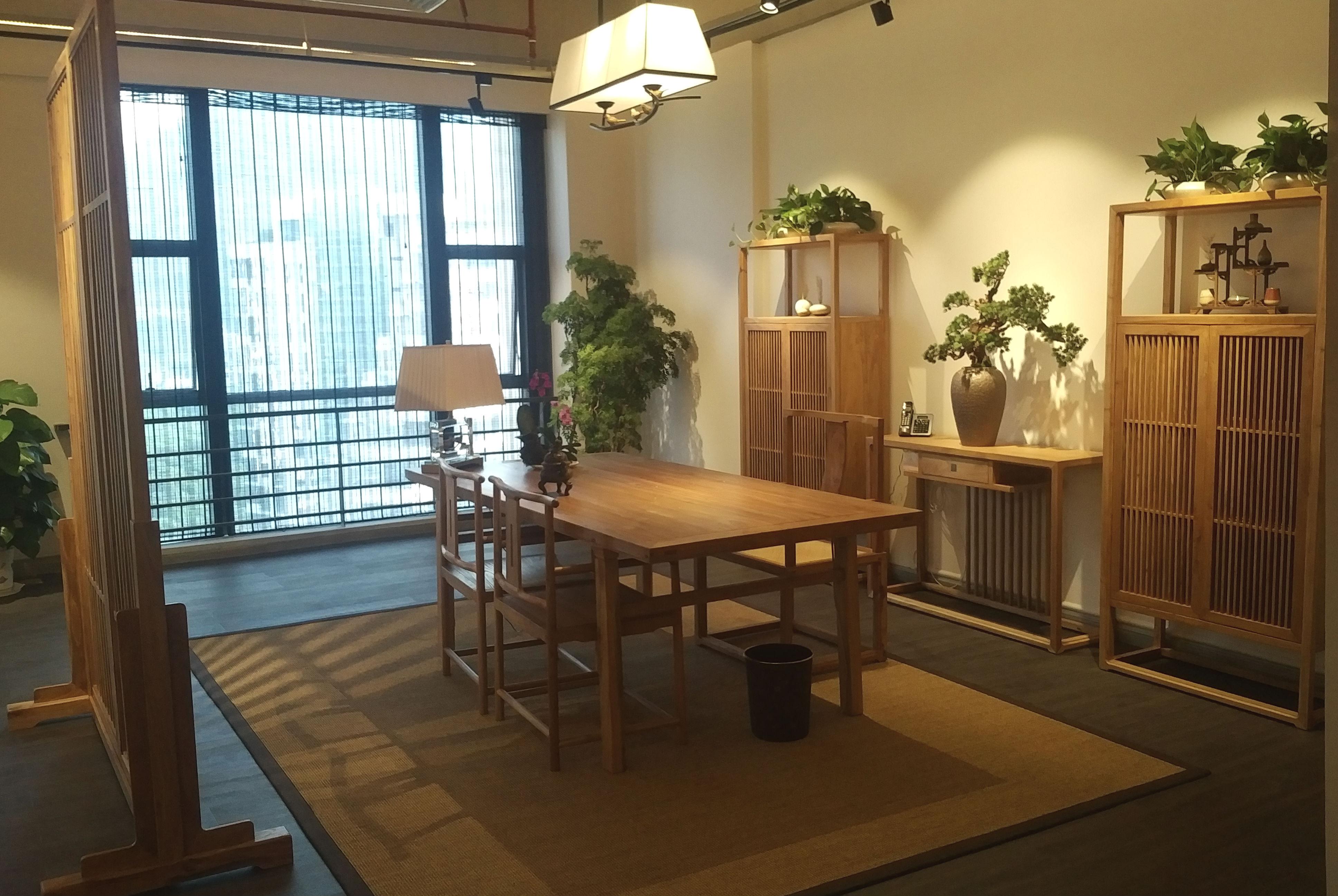 中式风办公室设计办公区布置图