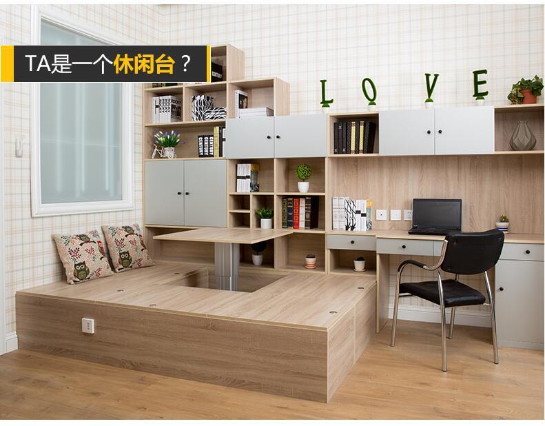 整体定制榻榻米床 进口板式榻榻米床定做衣柜书柜书桌