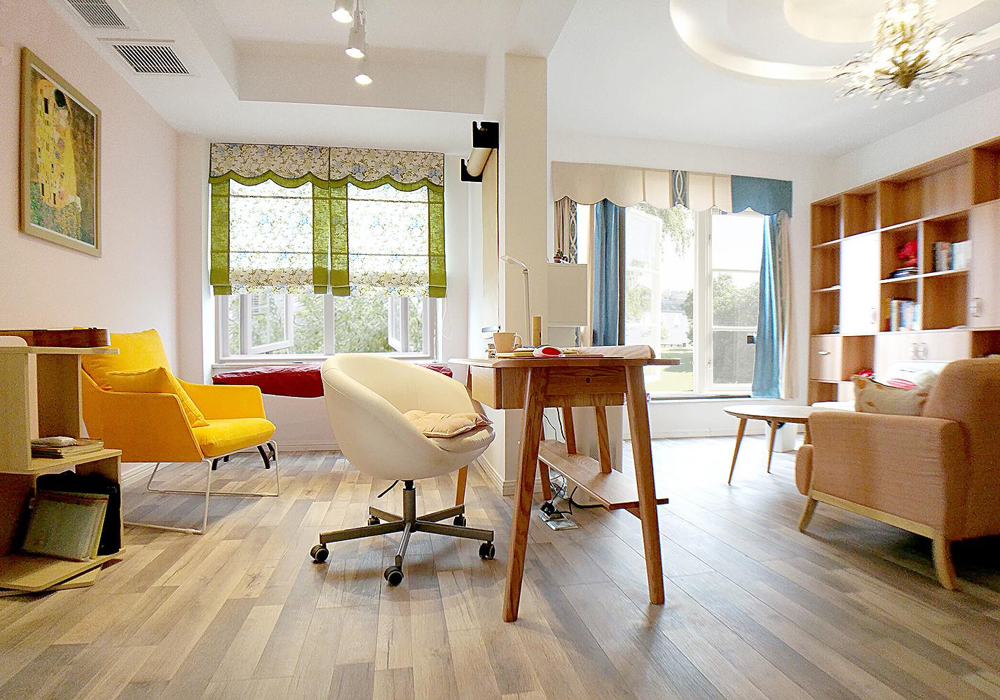 二居室简约风格家开放式书房设计