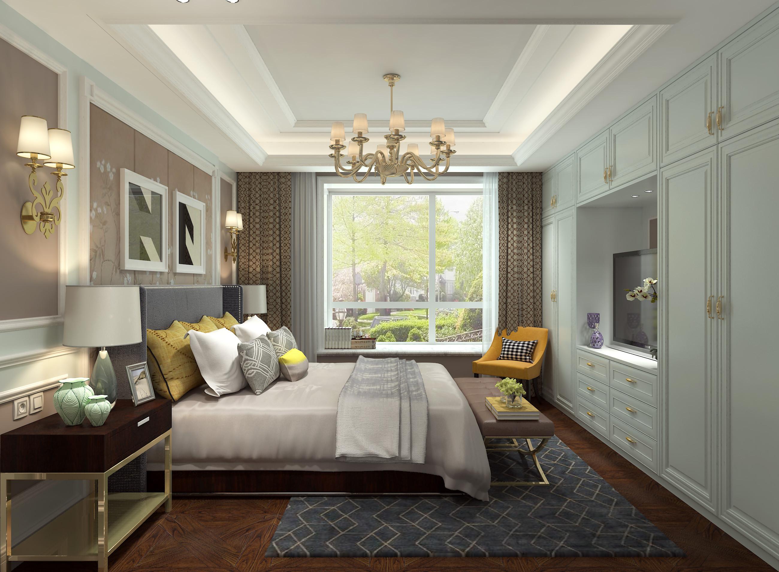 美式风格大户型装修效果图卧室吊顶设计