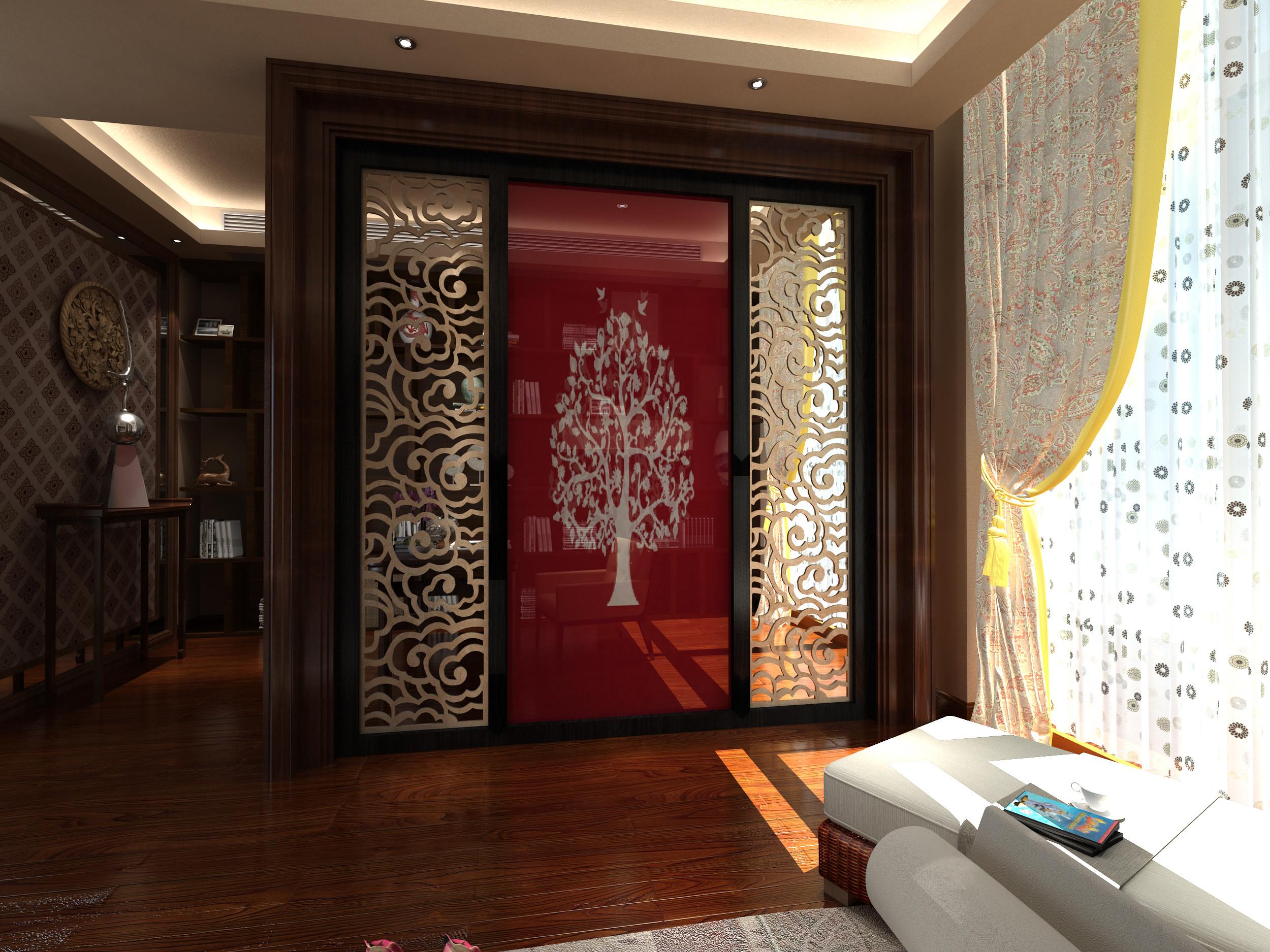 新中式别墅装修镂空隔断设计