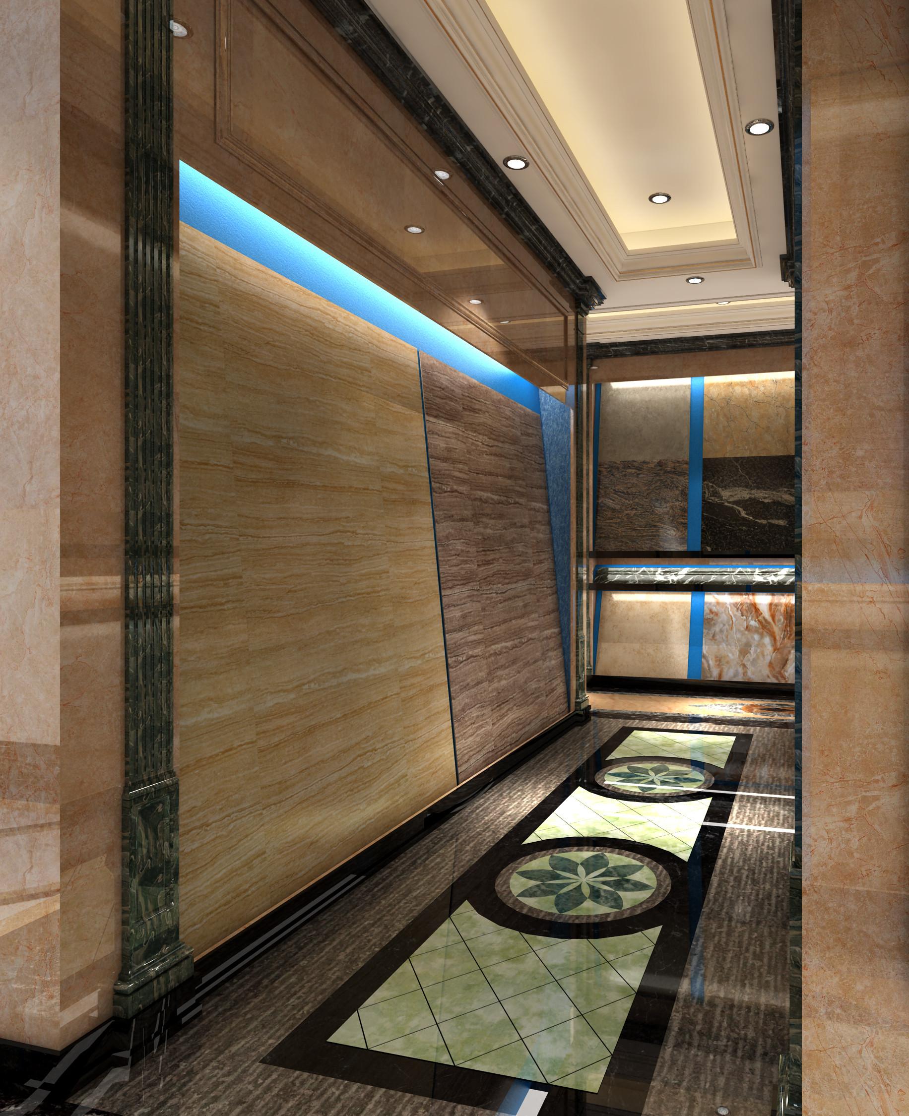 大理石展厅装修大块石材展厅走廊
