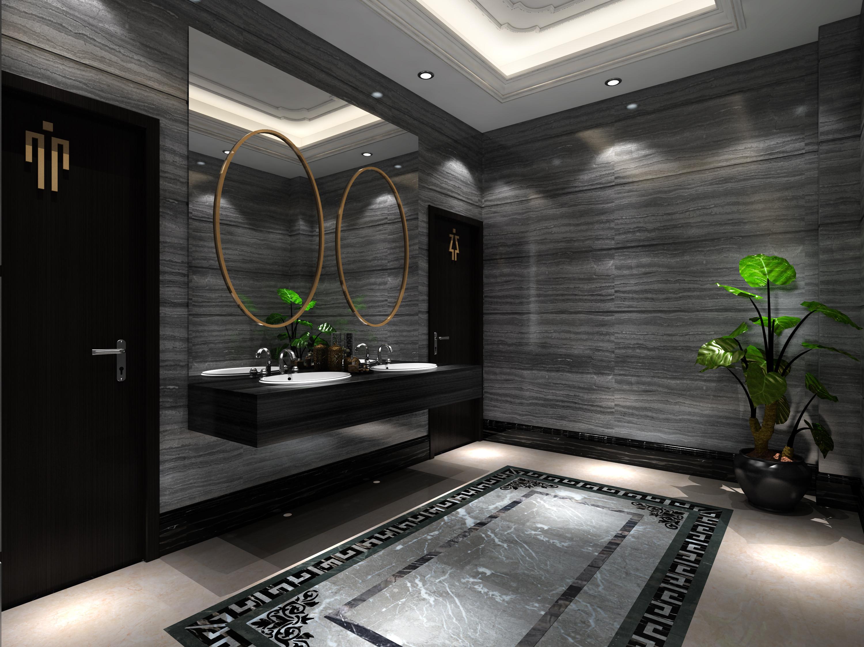 大理石展厅装修洗手台图片