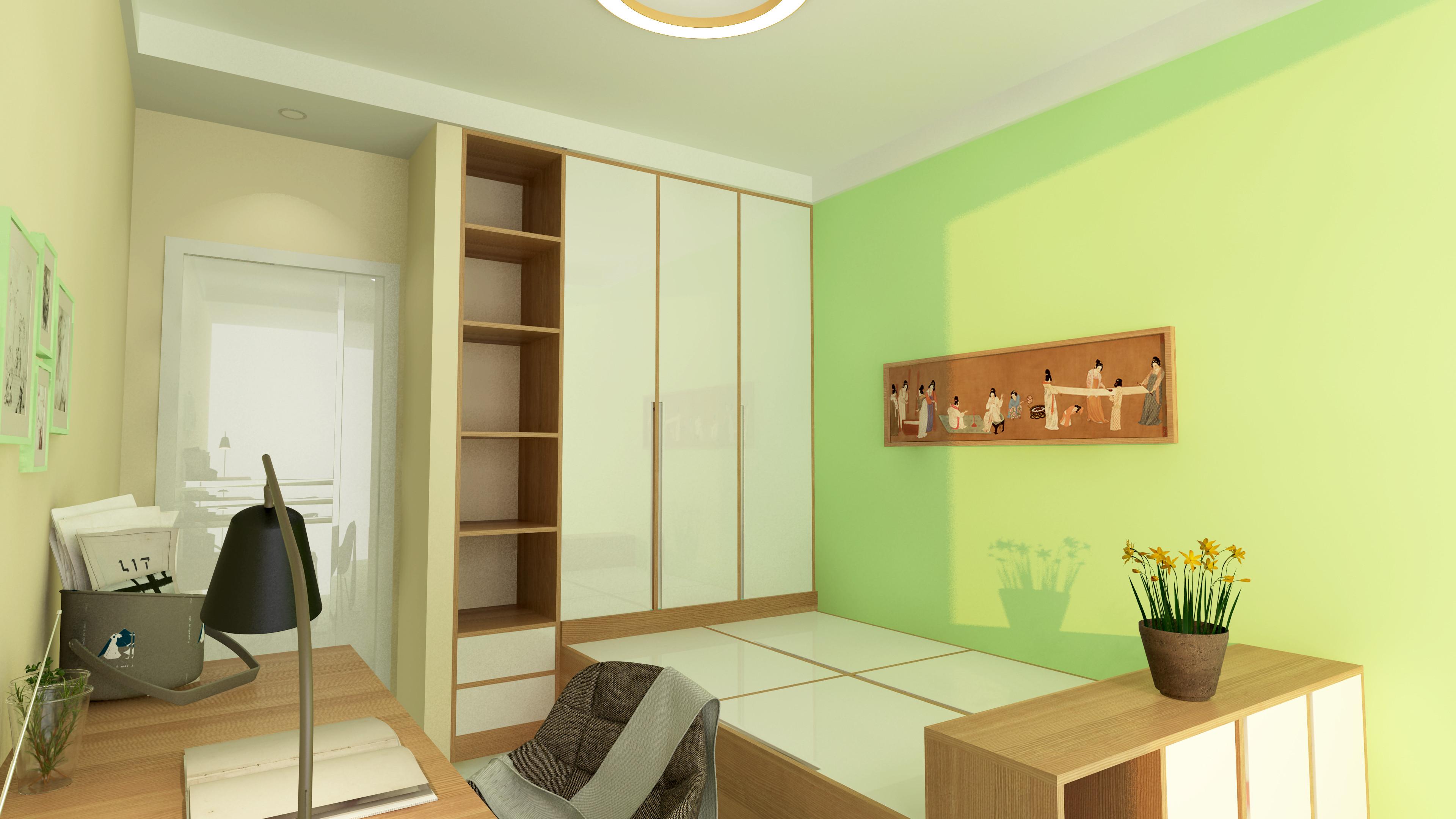 70平二居室装修书房榻榻米设计