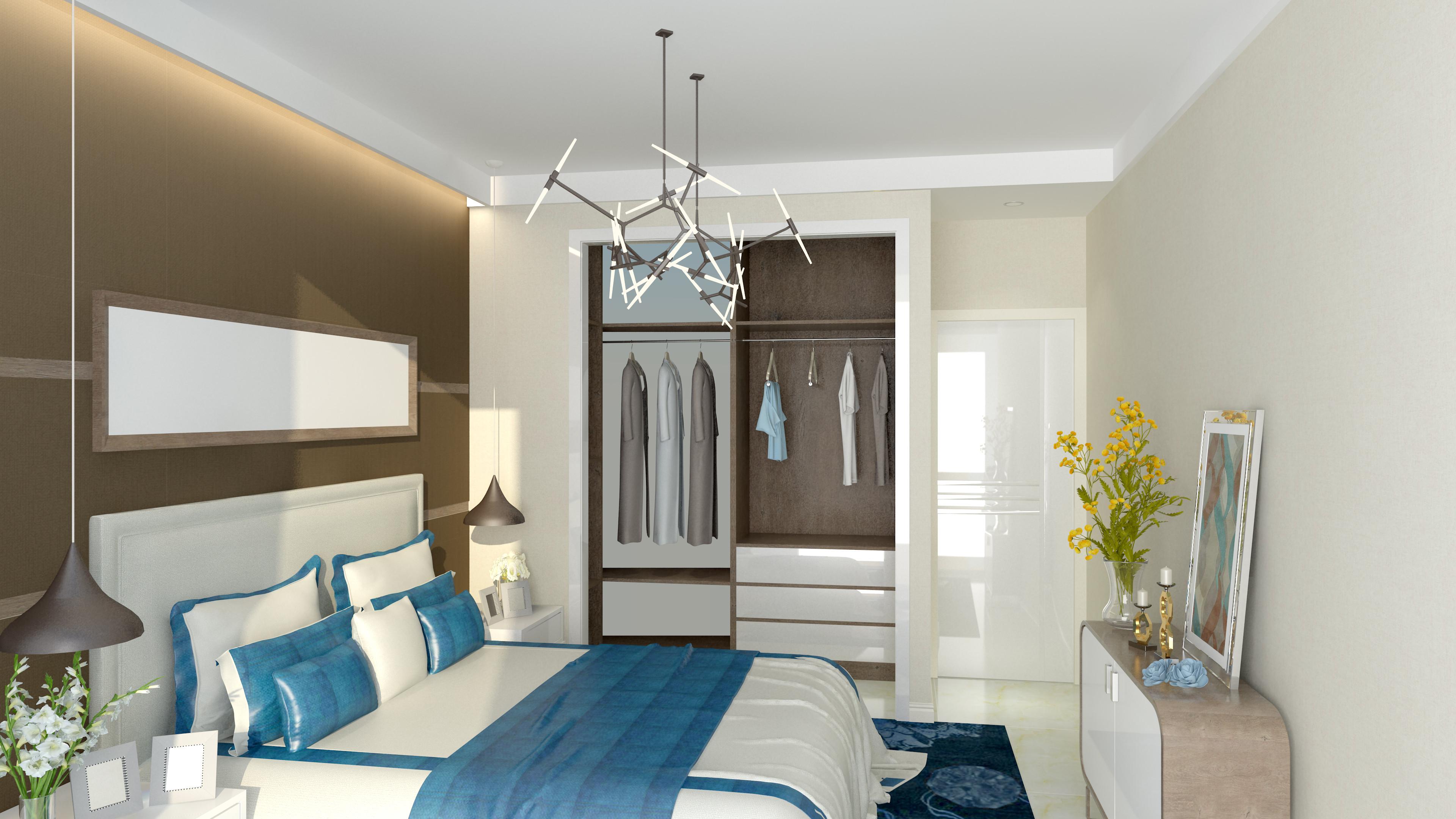 70平二居室装修卧室效果图