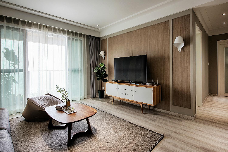 北欧混搭三居设计电视背景墙图片