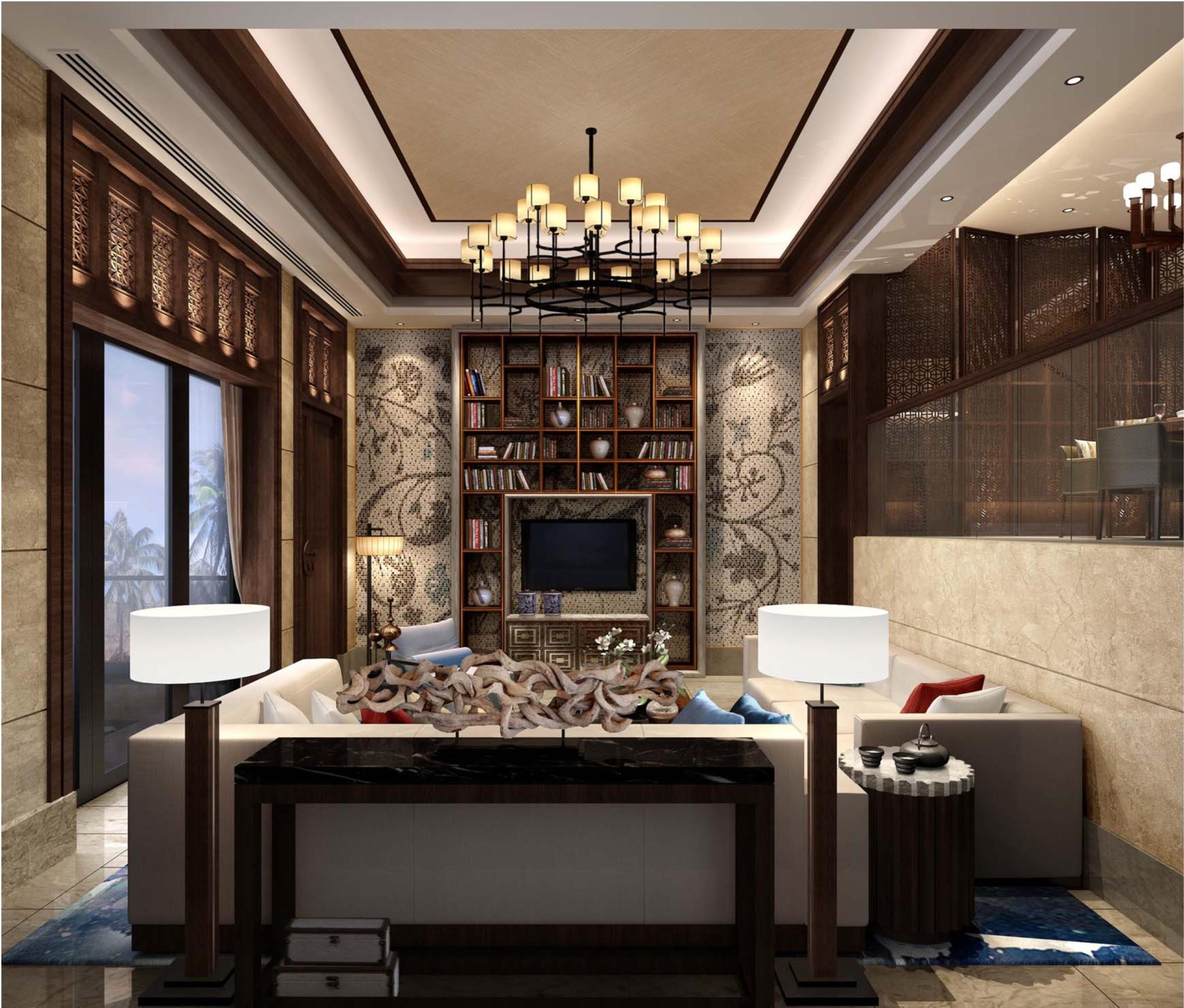东南亚风格别墅修书房设计图