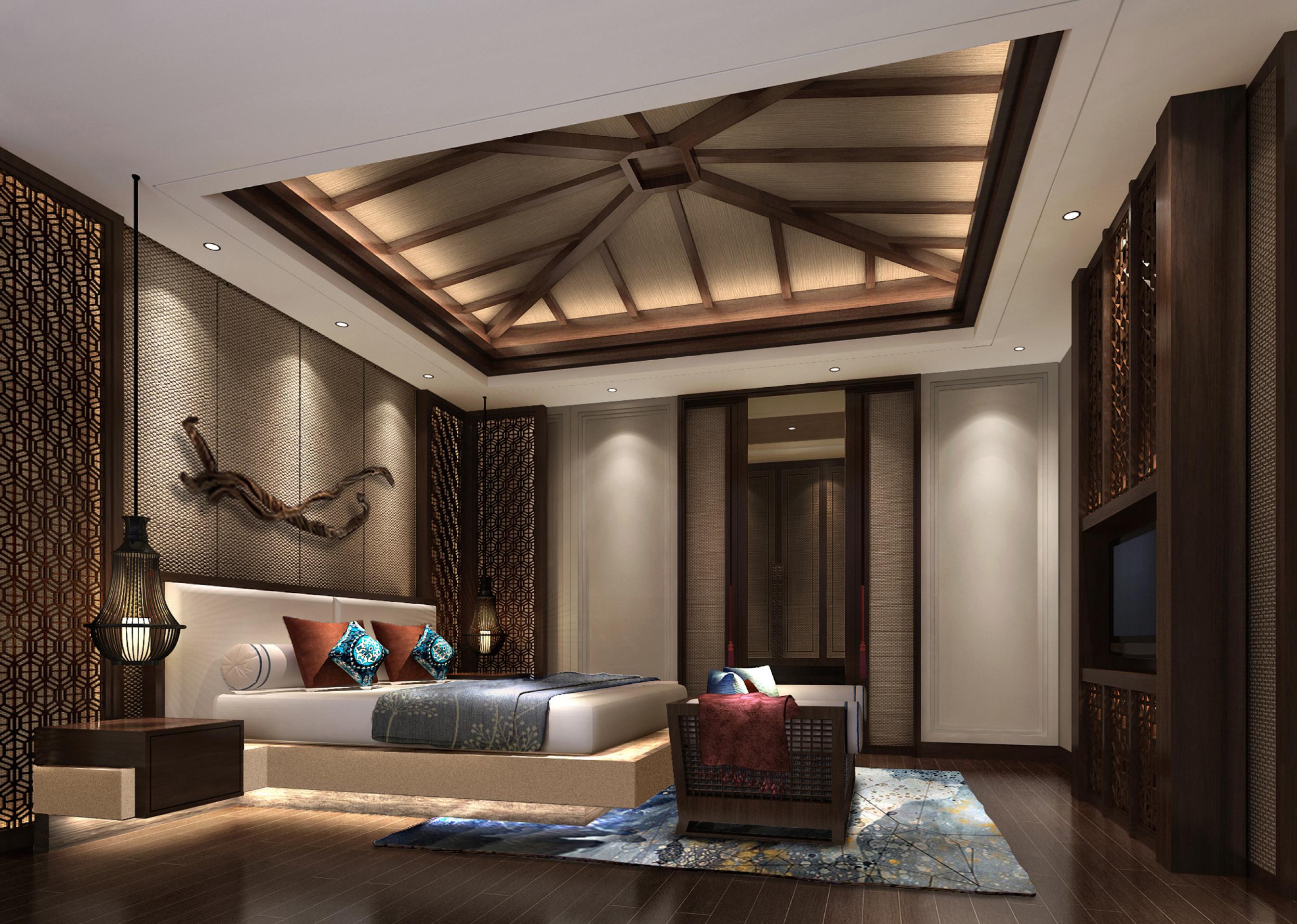 东南亚风格别墅修主卧效果图