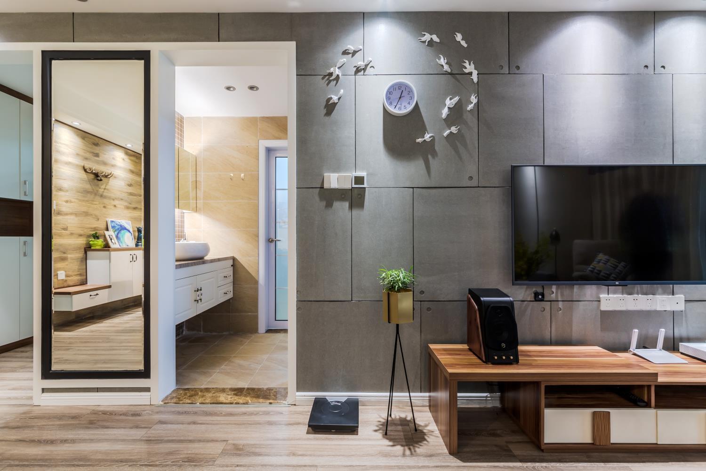 北欧二居装修电视墙局部装饰设计