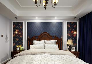 三居室美式风格家床头背景墙图片