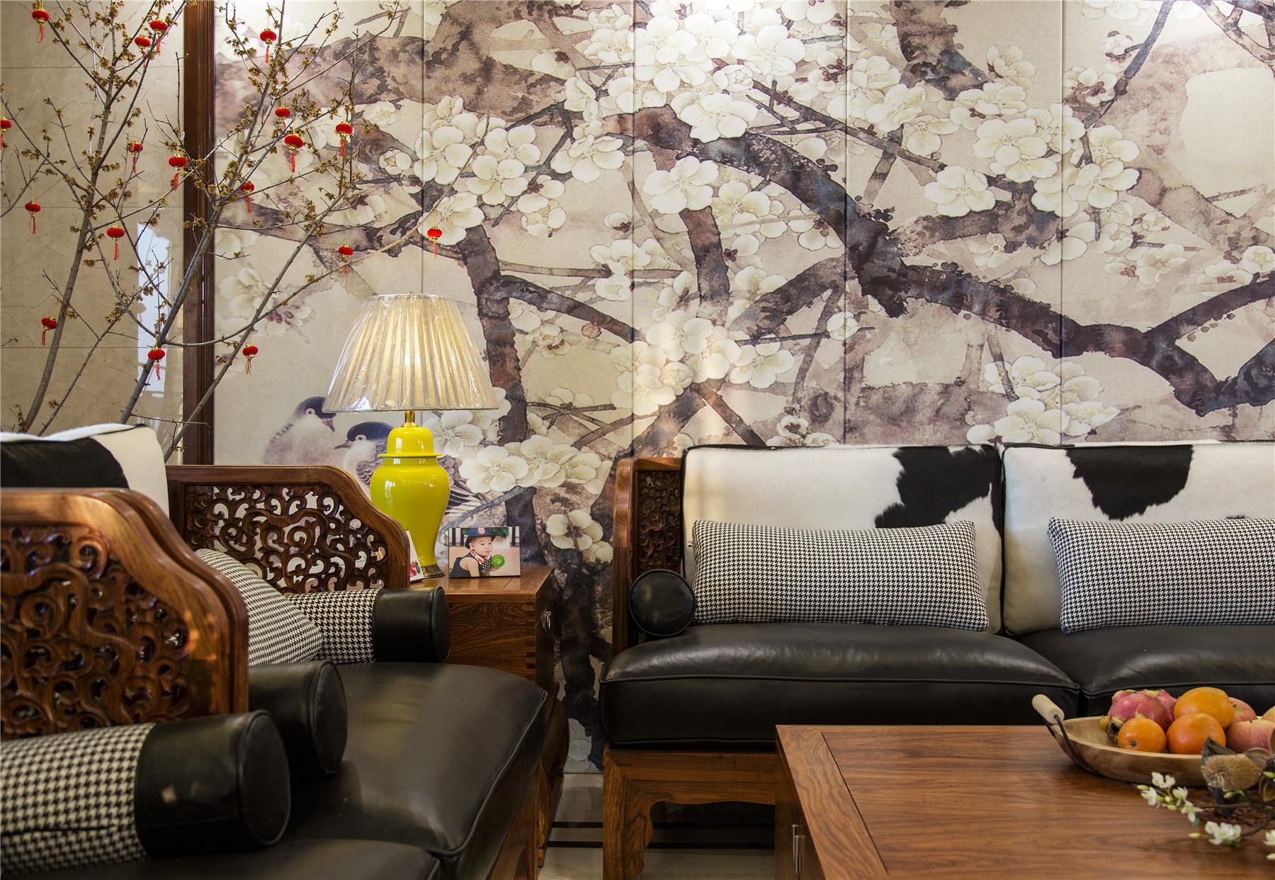 中式风格四房装修客厅局部图