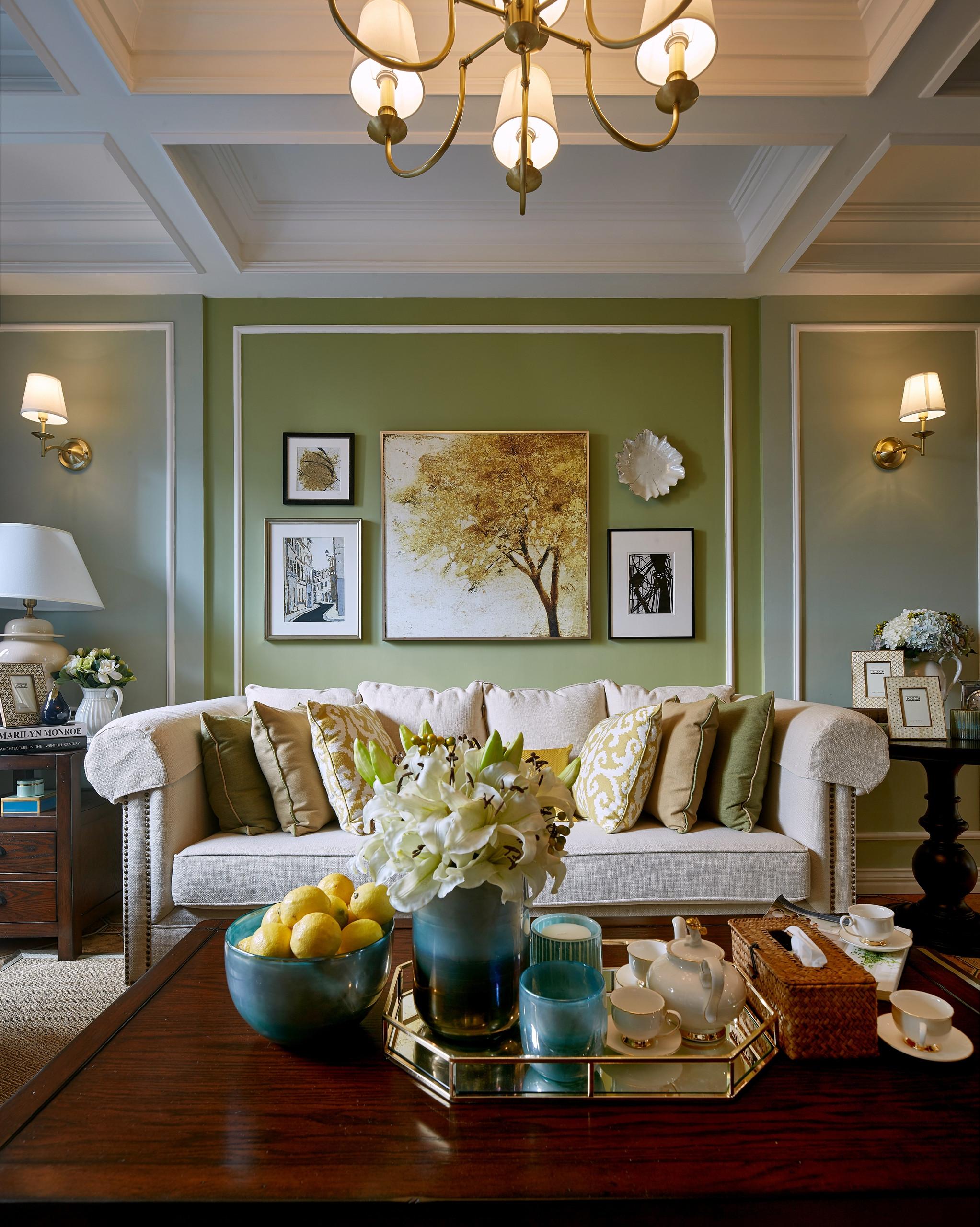 美式二居装修沙发墙图片