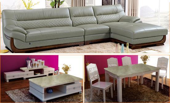 PS-T43B沙发+CX-T6002茶几+电视柜+餐椅