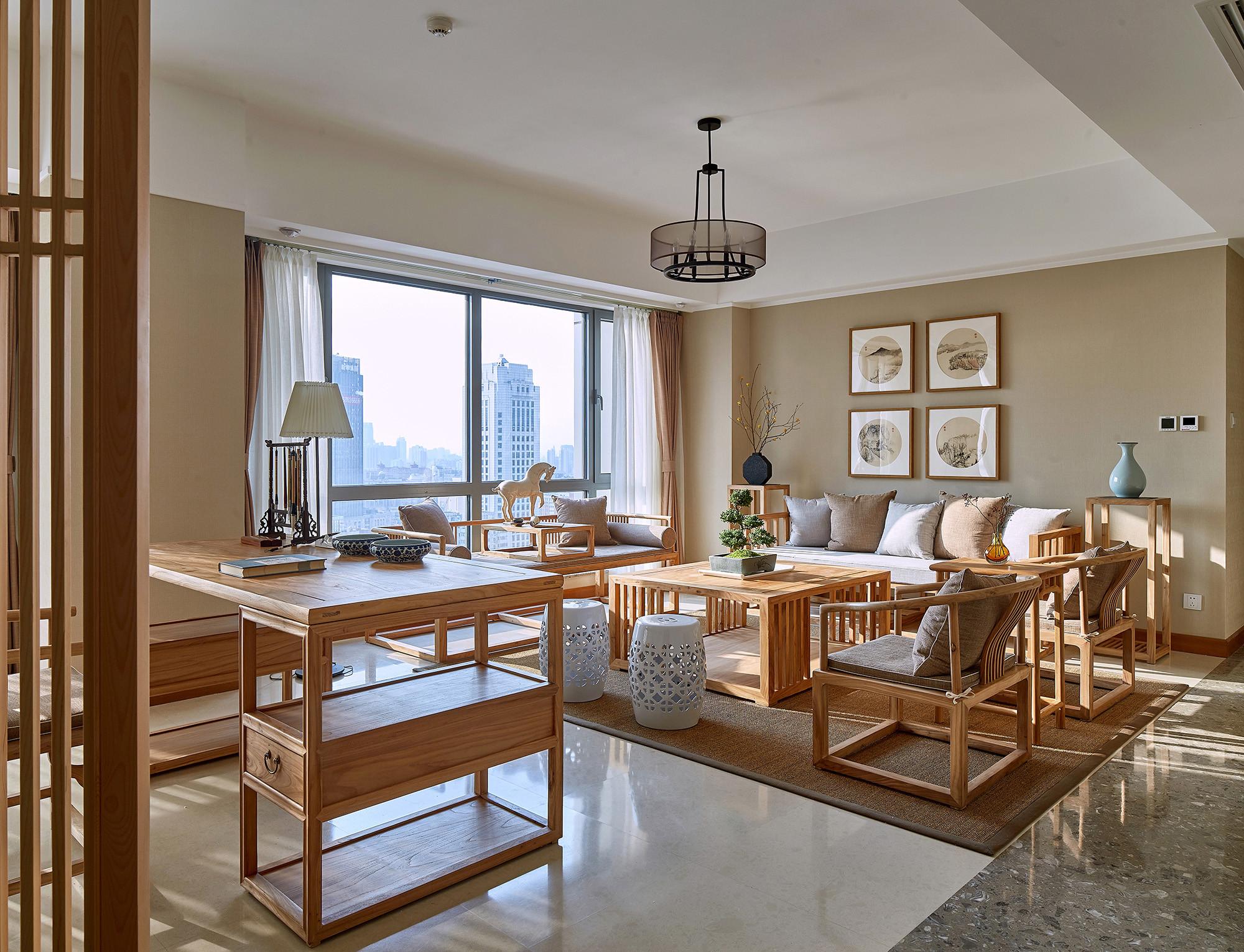 轻奢中式风装修客厅效果图