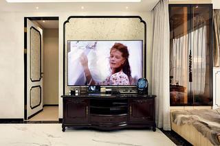 中式风格三居装修电视墙设计