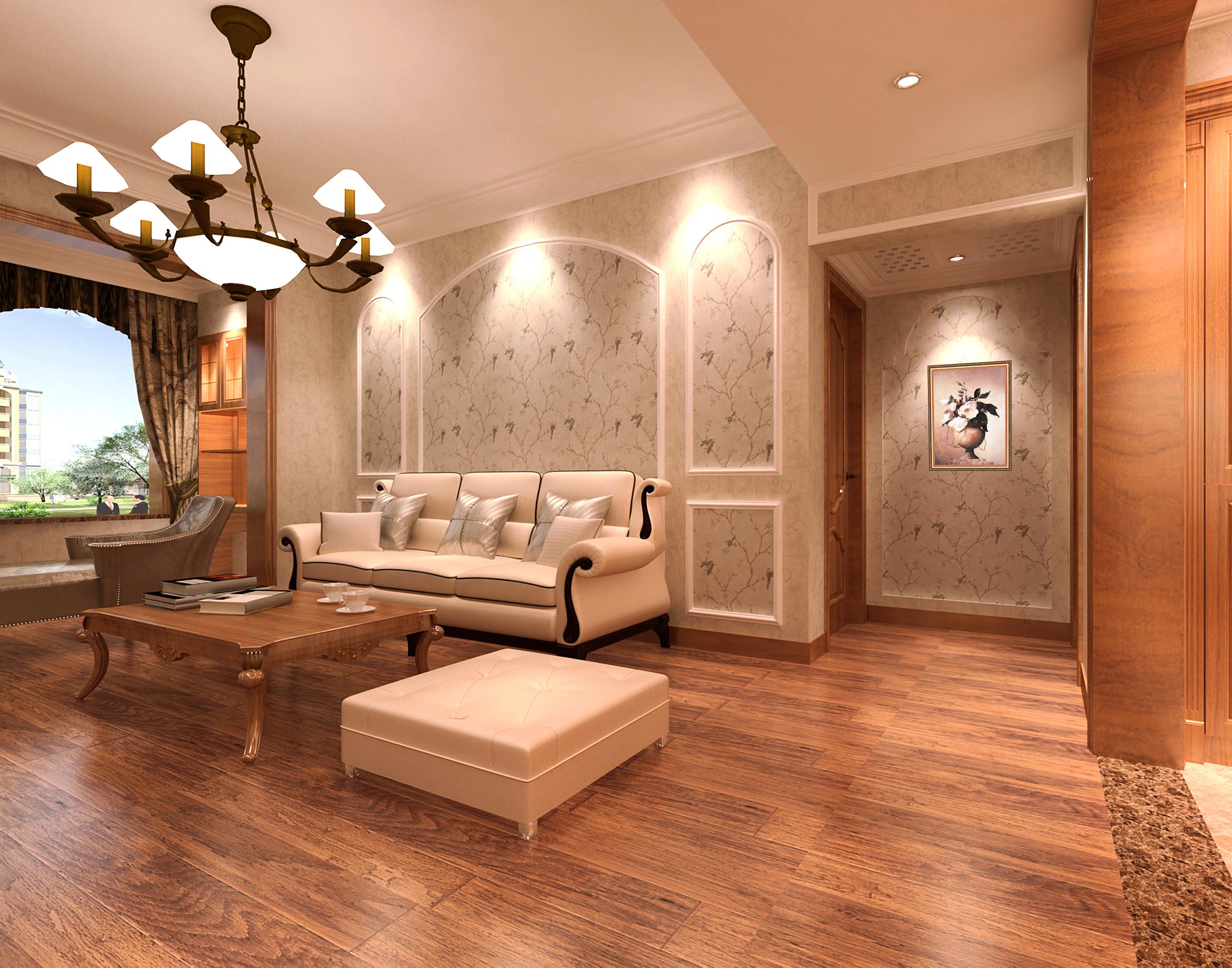 110平欧式装修沙发背景墙图片
