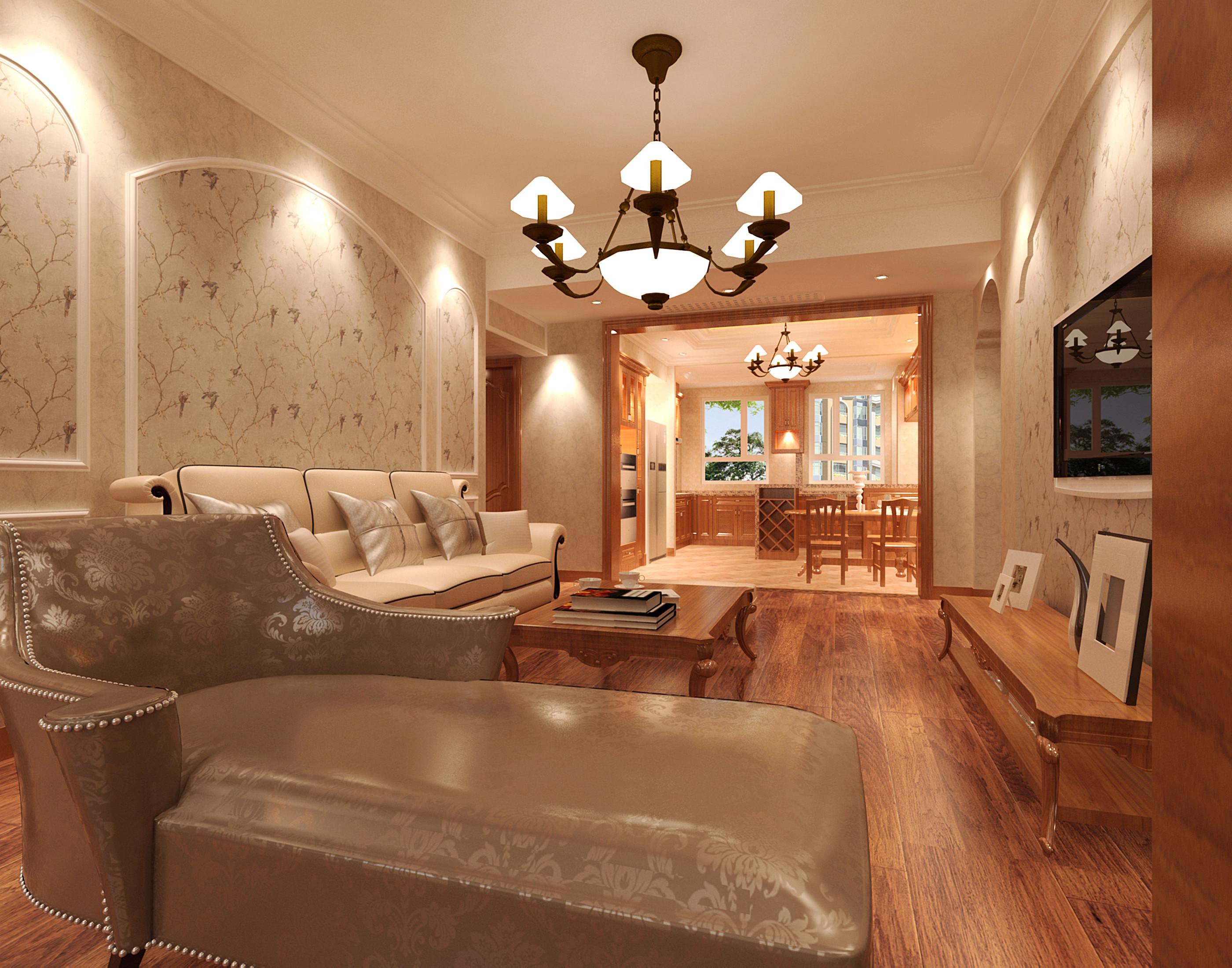 110平欧式装修客厅效果图