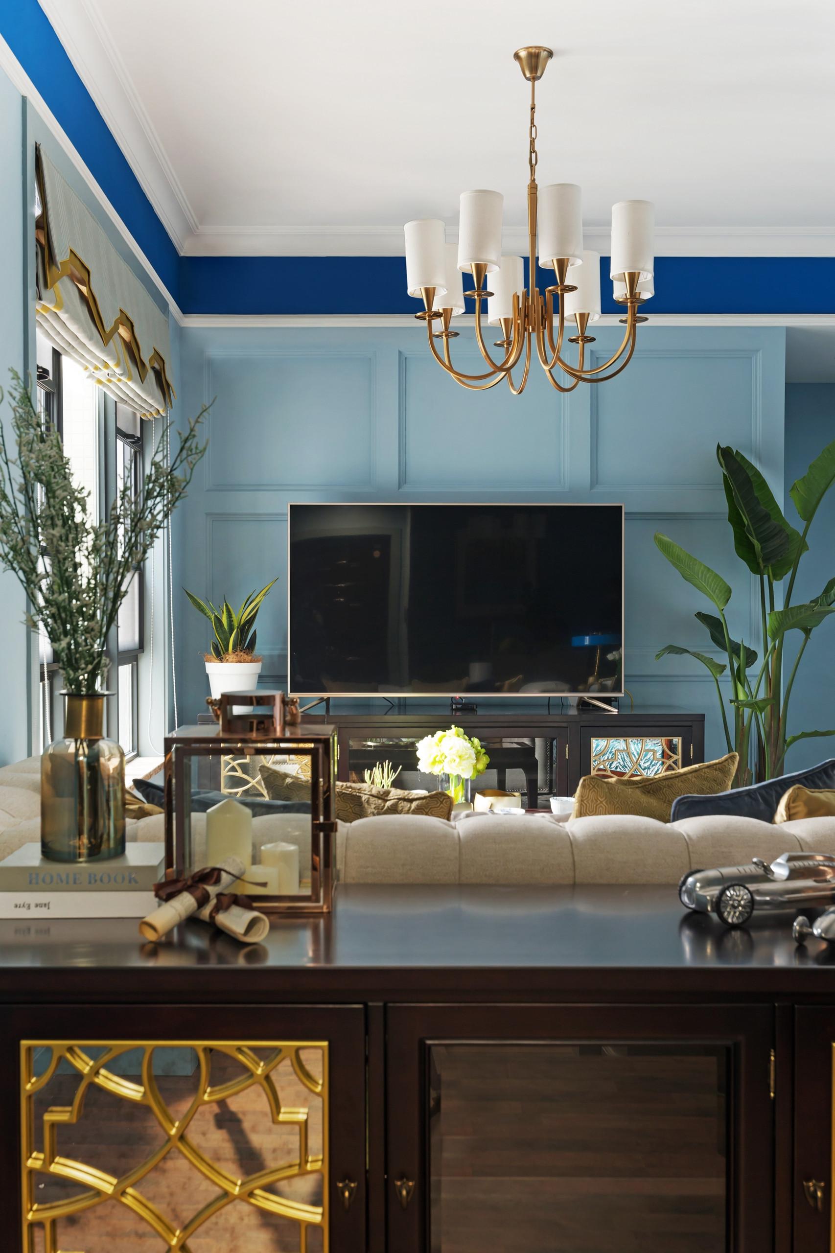 86平美式风格家电视背景墙图片