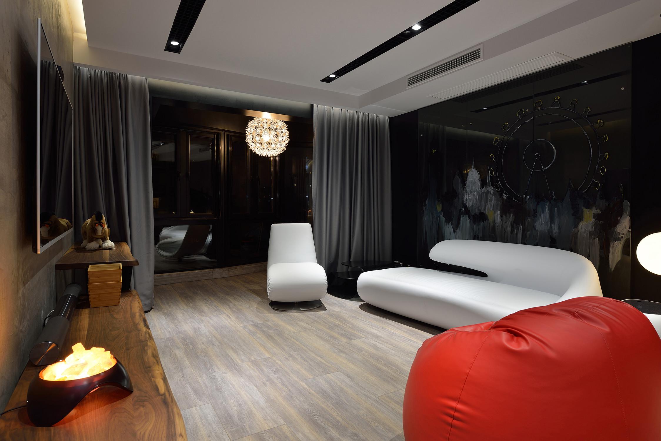 黑白极简装修沙发背景墙图片