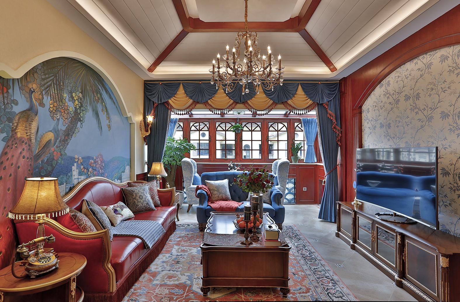 古典美式复式装修客厅效果图