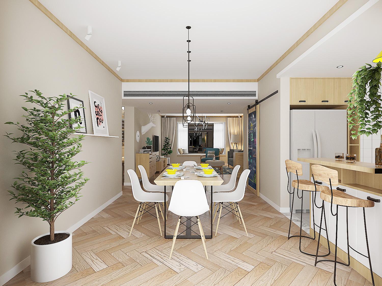 130平北欧装修餐厅设计图
