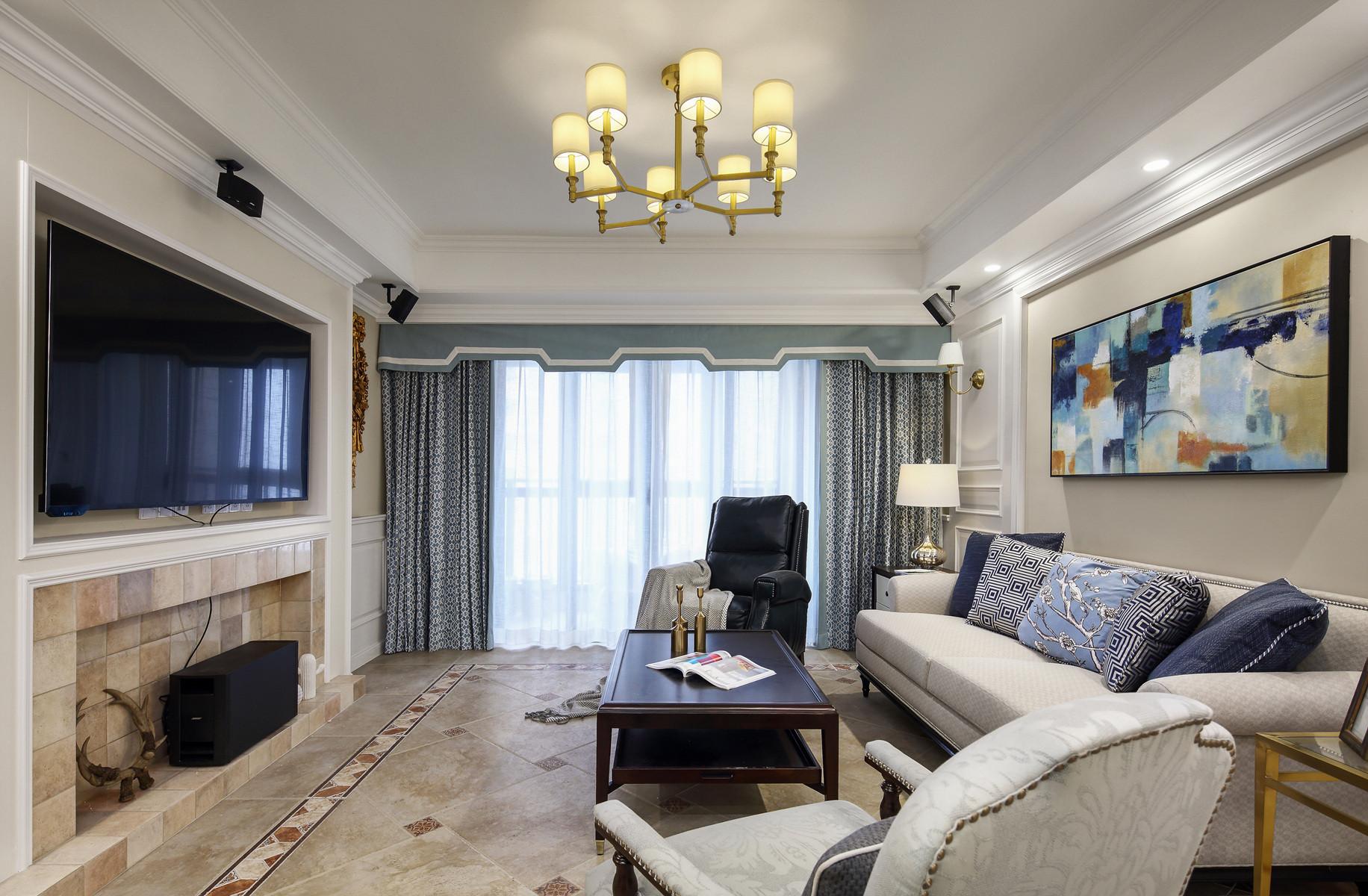 美式风格三居装修客厅效果图