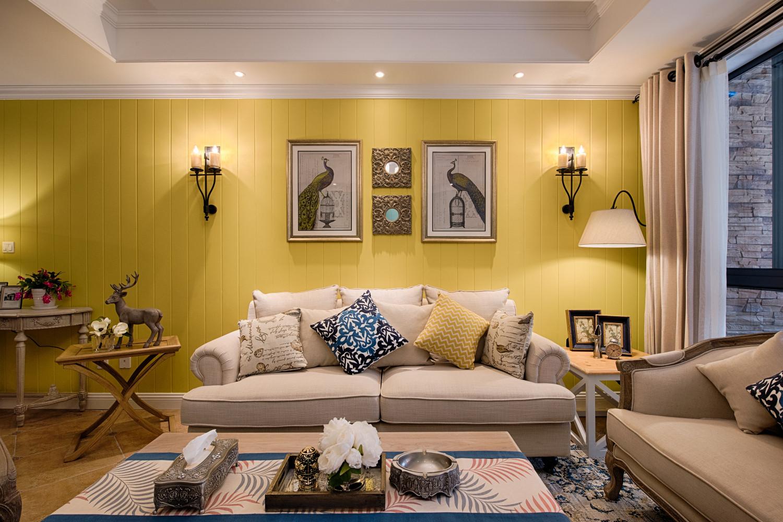 复式混搭装修沙发背景墙图片